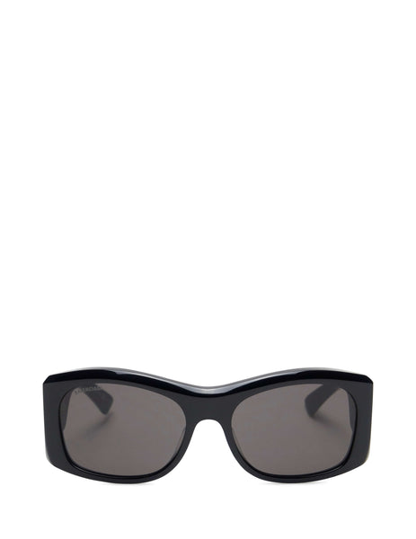 Balenciaga Eyewear Men's and Women's Giulio Fashion Black Thick Round Sunglasses BB0001S004