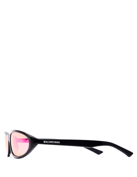 Balenciaga Eyewear Unisex Black and Purple Neo Round Sunglasses BB0007S003