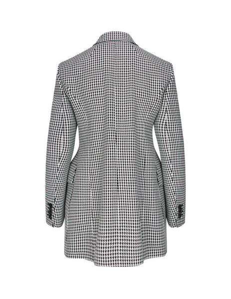 Women's Black and White Balenciaga Houndstooth Hourglass Blazer 571579TIT091070