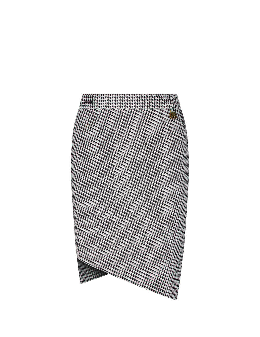 Women's Black and White Balenciaga Houndstooth Twisted Wrap Skirt 621416TIT091070