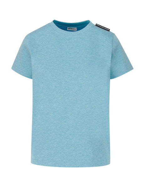 Balenciaga Women's Giulio Fashion Baby Blue Label Logo T-Shirt 578133TAV045840