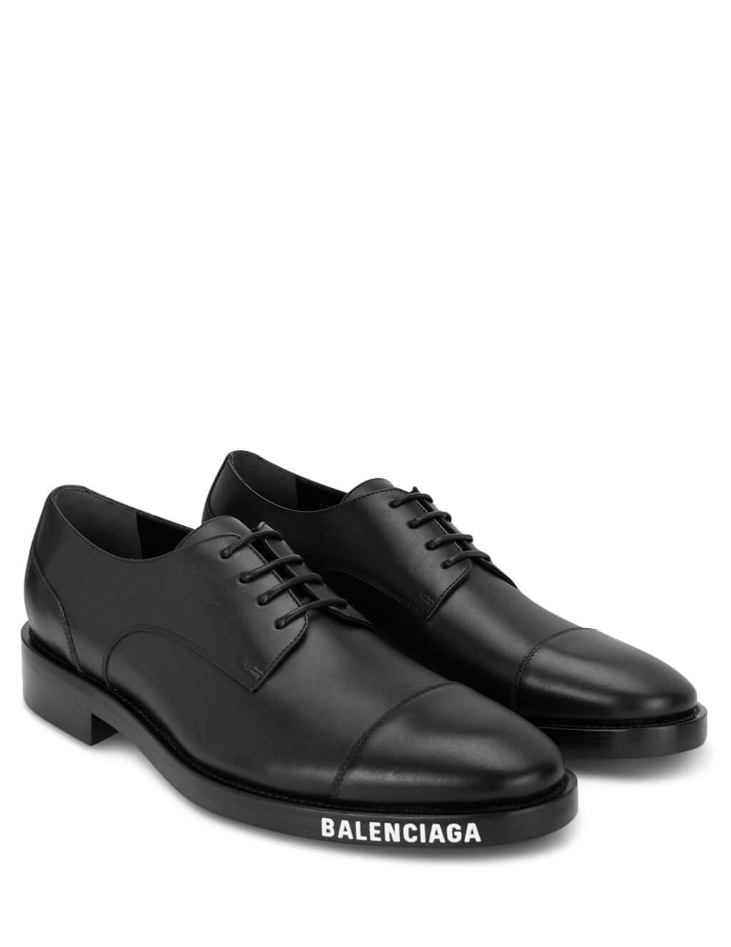 Balenciaga Men's Black Leather Logo Print Derby Shoes 590716WA6F01000