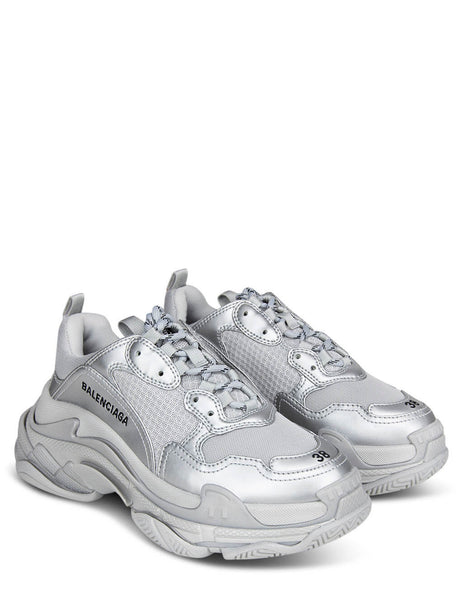 Women's Balenciaga Metallic Triple S Sneakers in Silver - 524039W2FS28100