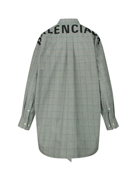 Balenciaga Women's Giulio Fashion Grey Oversized Checked Shirt 520497TGM191070
