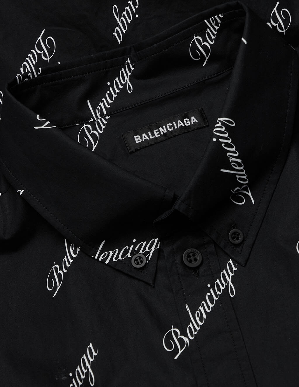 Men's Balenciaga Script Logo Short Sleeve Large Fit Shirt in Black/White - 647354TJLY71070