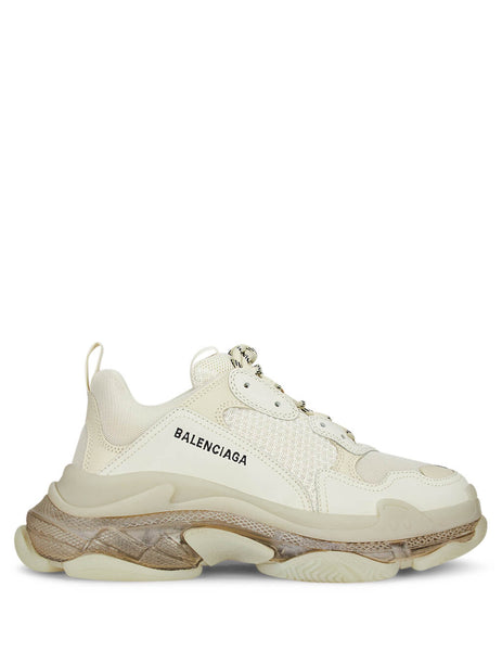 Balenciaga Men's Off White Triple S Clear Sole Sneakers 541624W09O19005