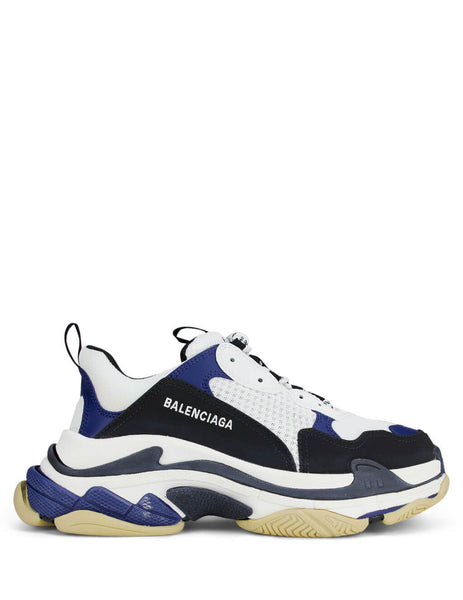 Balenciaga Men's White/Blue/Black Triple S Sneakers 536737W09OM9087