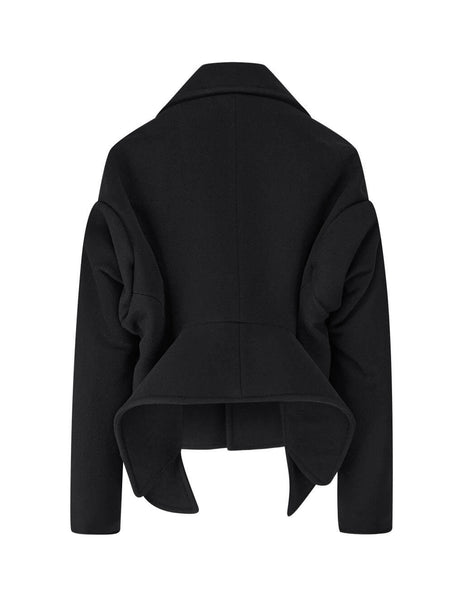 Balenciaga Women's Black Upside Down Peacoat 626540TIU071000