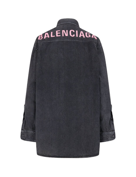 Balenciaga Women's Giulio Fashion Black Washed Denim Shirt 583239TBP195802