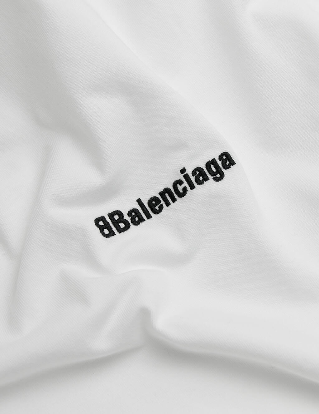 Balenciaga Men's White BB Corp Logo T-Shirt 612966TJV879040