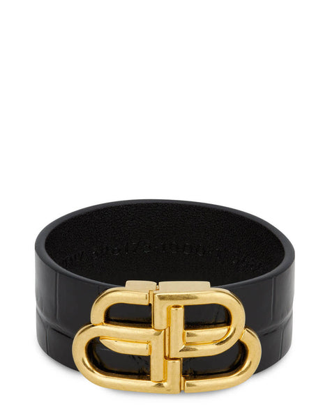 Women's Balenciaga BB Large Bracelet in Black/Gold - 5961751LRIM1000