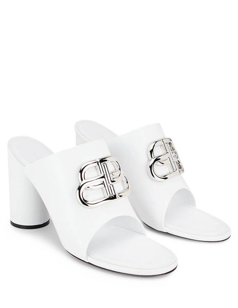 Balenciaga Women's Giulio Fashion White BB Round Mules 604065WA8F89071