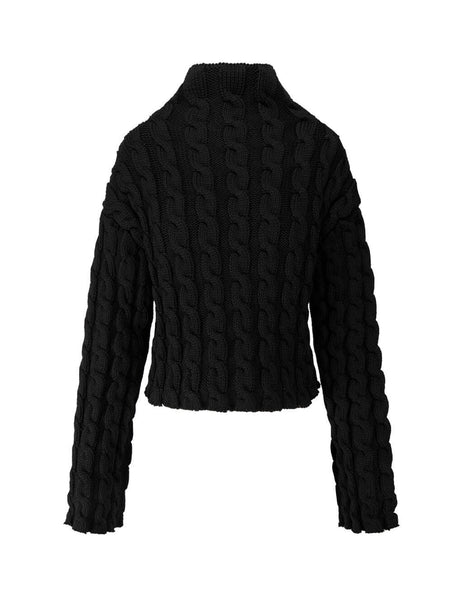 Balenciaga Women's Giulio Fashion Black Cable Knit Jumper 626199T61651000