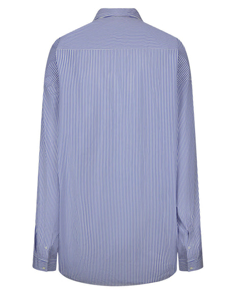 Balenciaga Women's Blue/White College Stripe Shirt 642306TFM034640
