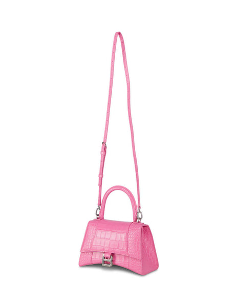 Balenciaga Pink Croc-Embossed Hourglass Small Bag 5935461LR6Y5842