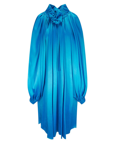 Balenciaga Women's Blue Double Face Satin Dress 642314TJO394407