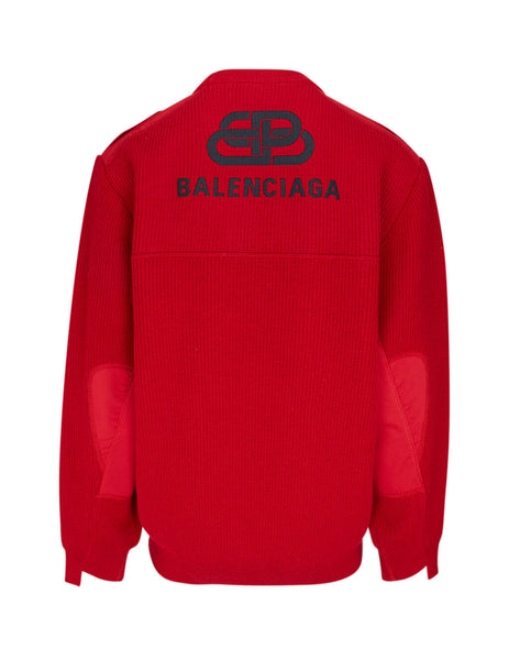 Men's Red Balenciaga Embroidered Logo Sweater 606897T15546400