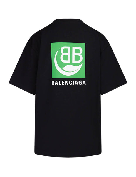 Women's Black Balenciaga Green Logo T-Shirt 594599THV631000