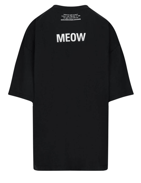 Balenciaga Women's Black I Love Cats XL T-Shirt 641532TJVG81000