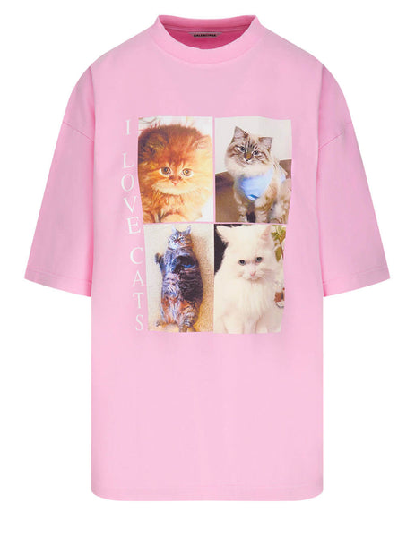 Balenciaga Women's Pink I Love Cats XL T-Shirt 641532TJVG85630