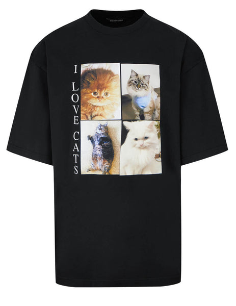 Balenciaga Men's Black I Love Cats XL T-Shirt 641614TJVG81000