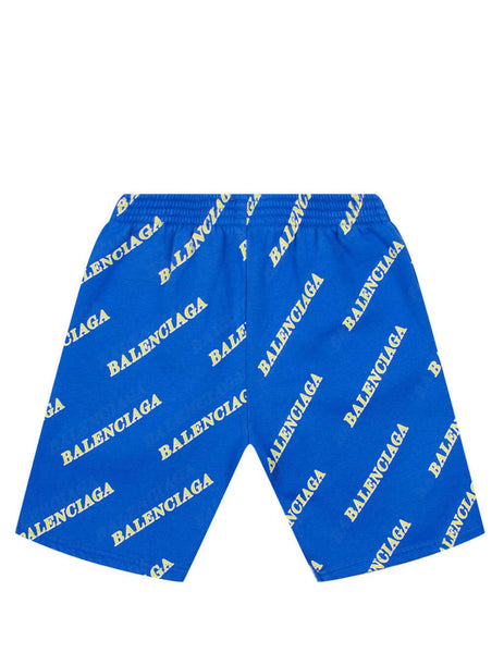 Balenciaga Kid's Blue Logo Pattern Shorts 621789TIV975011