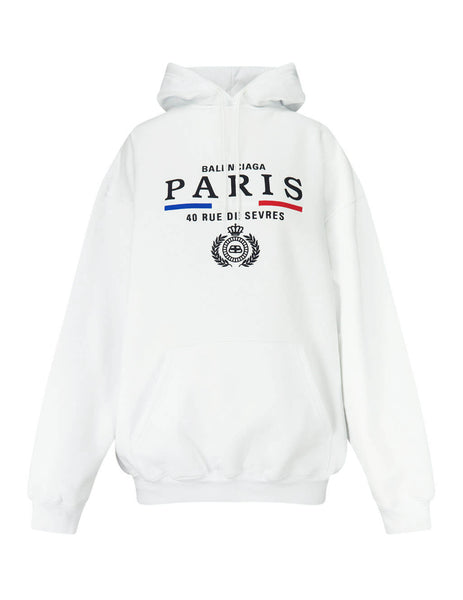Balenciaga Women's Giulio Fashion White Paris Crest Hoodie 578135TGV499000