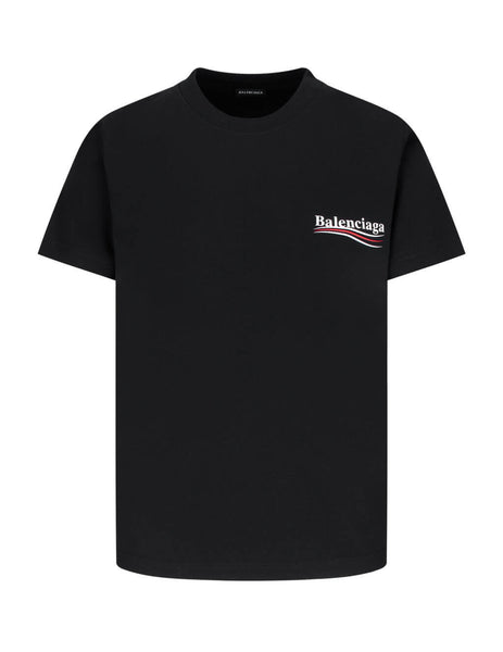 Balenciaga Men's Giulio Fashion Black Political Jersey T-Shirt 620967TIV521070