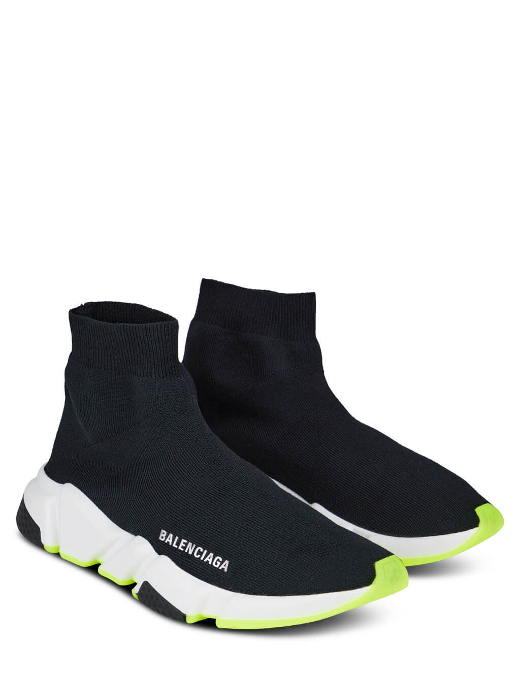Women's Balenciaga Speed Sneakers in Black/White/Neon Green - 587280W2DB91016