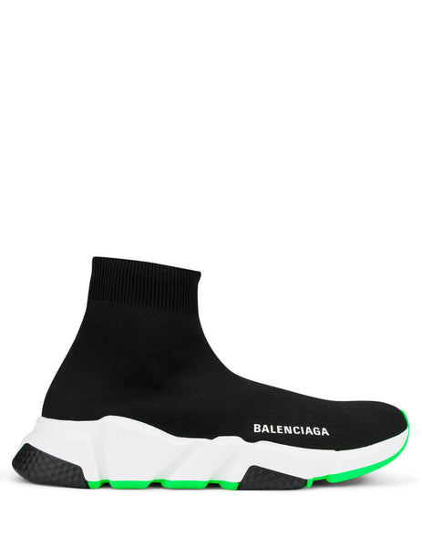 Women's Black, White and Green Balenciaga Speed Sock Sneakers 587280W17041073