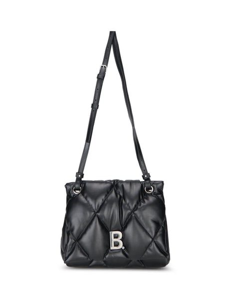 Women's Black Leather Balenciaga Touch Puffy Shoulder Bag. 6194491WN4Y1000