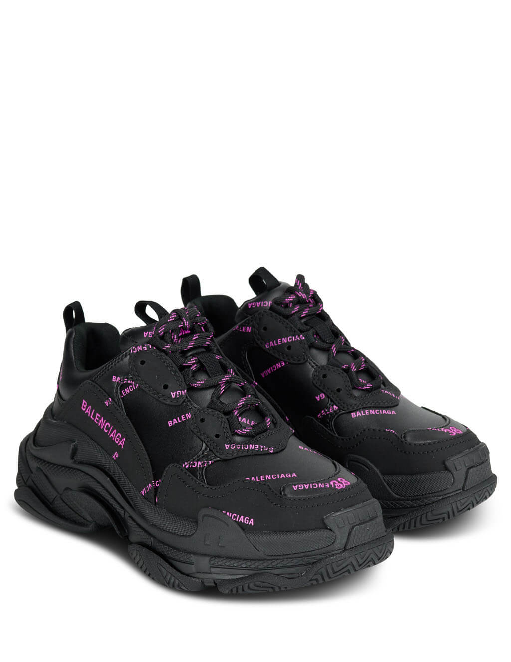 Balenciaga Women's Giulio Fashion Black/Pink Triple S Sneakers 524039W2FA11050