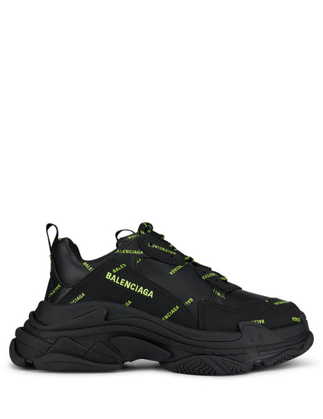 Balenciaga Men's Giulio Fashion Black/Yellow Triple S Sneakers 536737W2FA11070