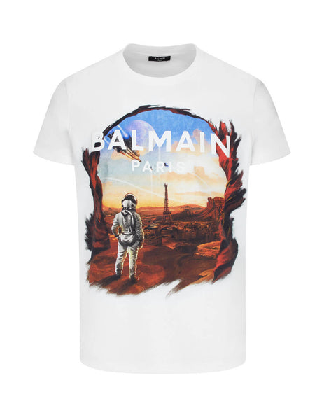 mens balmain astronaut print slim fit t-shirt in white and multicolour UH01601I373AAA