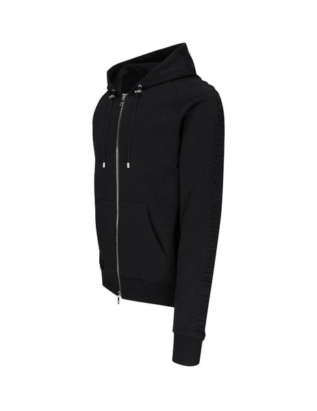 Men's Black Balmain Raised Logo Hoodie TH13122I2400PA