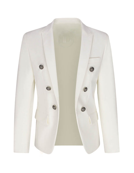 Balmain Men's White Collection Fit Jacket TH07110C1210FA