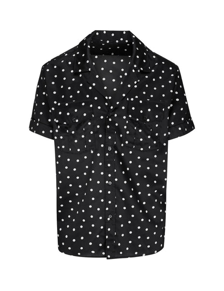 Balmain Men's Black Dots Short Sleeve Shirt in Cotton TH12279C135EAB