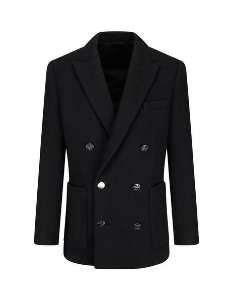 Men's Black Balmain Double-Breasted Fleece Blazer UH17008J9280PA