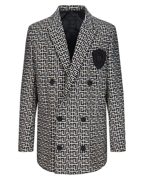 Balmain Men's Double-Breasted Monogram Blazer VH0SI025C212GFE