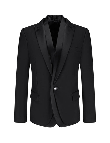 Men's Black Balmain Double Satin Collar Blazer UH17410W0010PA