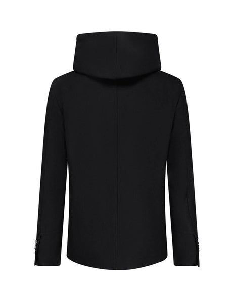 Men's Black Balmain Hooded Wool Pea Coat UH18420W0650PA