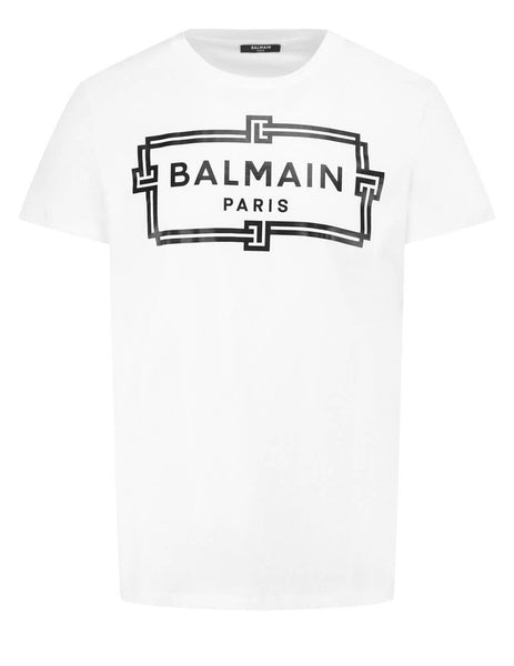 Men's Balmain Logo Print T-Shirt in White/Black - VHEF000G065GAB