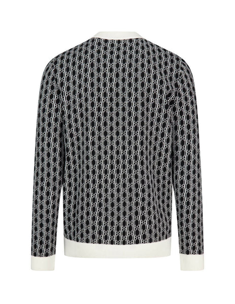 Men's Black and White Balmain Monogram Merino Wool Cardigan UH13224K006EAB