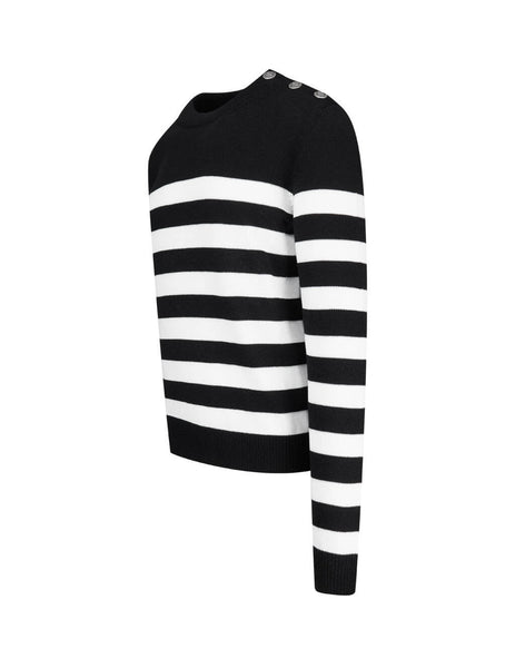 Men's Black and White Balmain Nautical Wool Striped Jumper UH13432K017EAB
