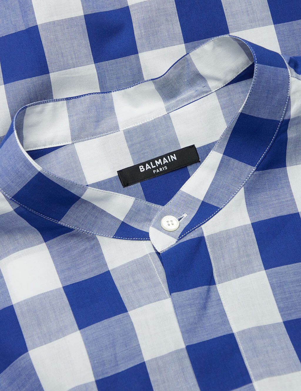 Balmain Blue/White Oversized Gingham Cotton Shirt VH1HU000C201SAB
