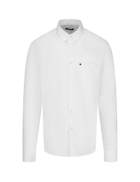 Men's White Balmain Striped Cotton Shirt UH12476C1630FA