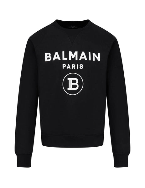 Men's Black Balmain Velvet Balmain Paris Logo Sweatshirt UH13279I372EAB