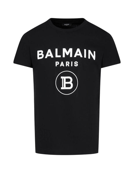 Men's Black Balmain Velvet Balmain Paris Logo T-Shirt UH11601I372EAB
