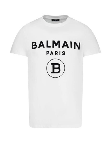 Men's White Balmain Velvet Balmain Paris Logo T-Shirt UH11601I372GAB