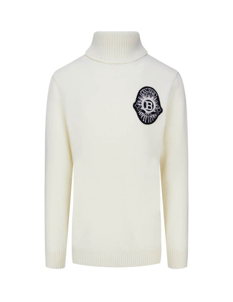 Balmain Men's White Beaded Logo Patch Jumper UH03492K0470FA
